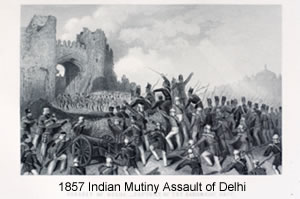 Drawing of the 1857 Indian Mutiny assault of Delhi
