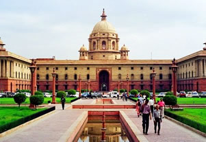 Picture of the government buildings in New Delhi.